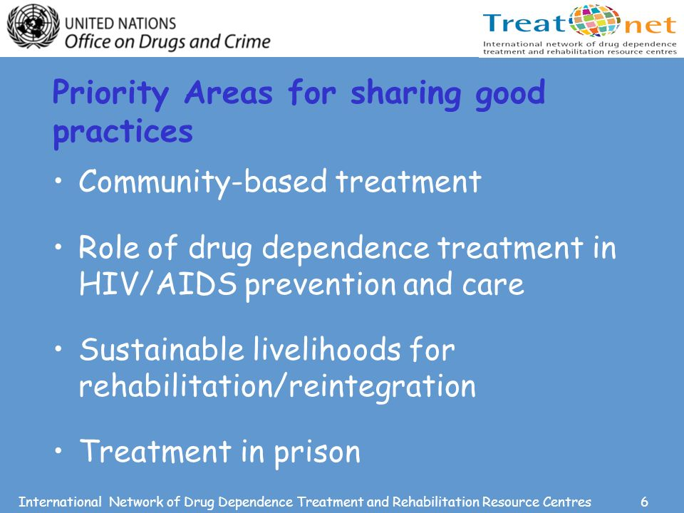 6International Network of Drug Dependence Treatment and Rehabilitation Resource Centres Priority Areas for sharing good practices Community-based treatment Role of drug dependence treatment in HIV/AIDS prevention and care Sustainable livelihoods for rehabilitation/reintegration Treatment in prison