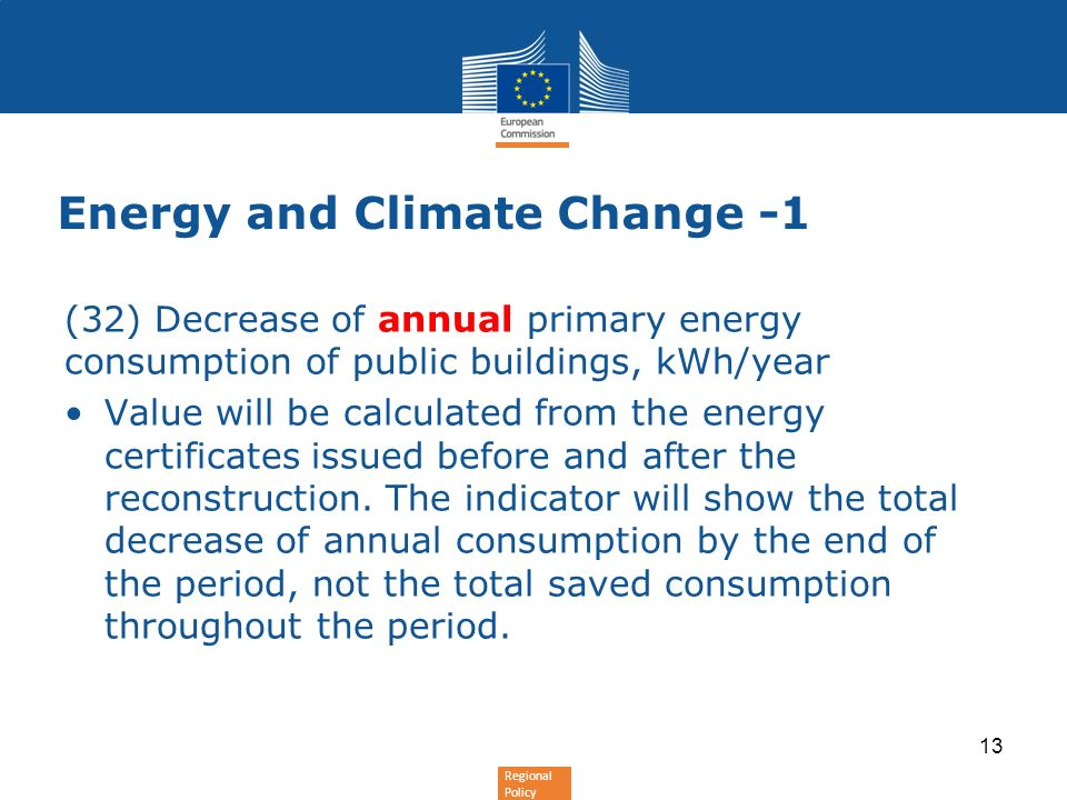 Regional Policy Energy and Climate Change -1 (32) Decrease of annual primary energy consumption of public buildings, kWh/year Value will be calculated from the energy certificates issued before and after the reconstruction.