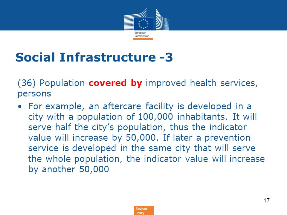 Regional Policy Social Infrastructure -3 (36) Population covered by improved health services, persons For example, an aftercare facility is developed in a city with a population of 100,000 inhabitants.