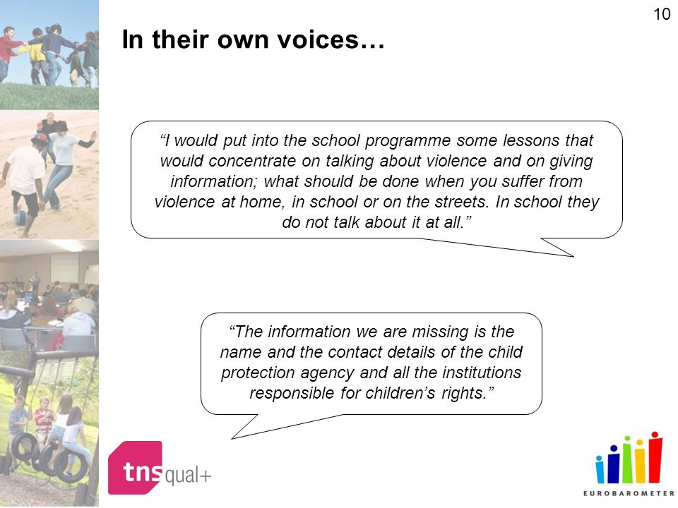10 In their own voices… I would put into the school programme some lessons that would concentrate on talking about violence and on giving information; what should be done when you suffer from violence at home, in school or on the streets.