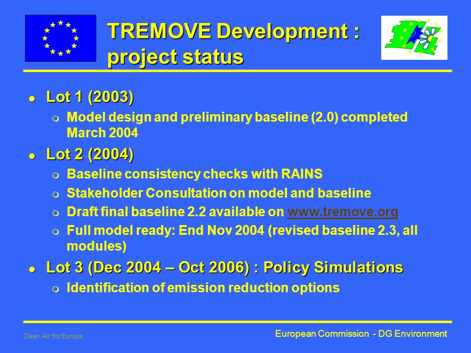 European Commission - DG Environment Clean Air for Europe TREMOVE Development : project status l Lot 1 (2003) m Model design and preliminary baseline (2.0) completed March 2004 l Lot 2 (2004) m Baseline consistency checks with RAINS m Stakeholder Consultation on model and baseline m Draft final baseline 2.2 available on   m Full model ready: End Nov 2004 (revised baseline 2.3, all modules) l Lot 3 (Dec 2004 – Oct 2006) : Policy Simulations m Identification of emission reduction options