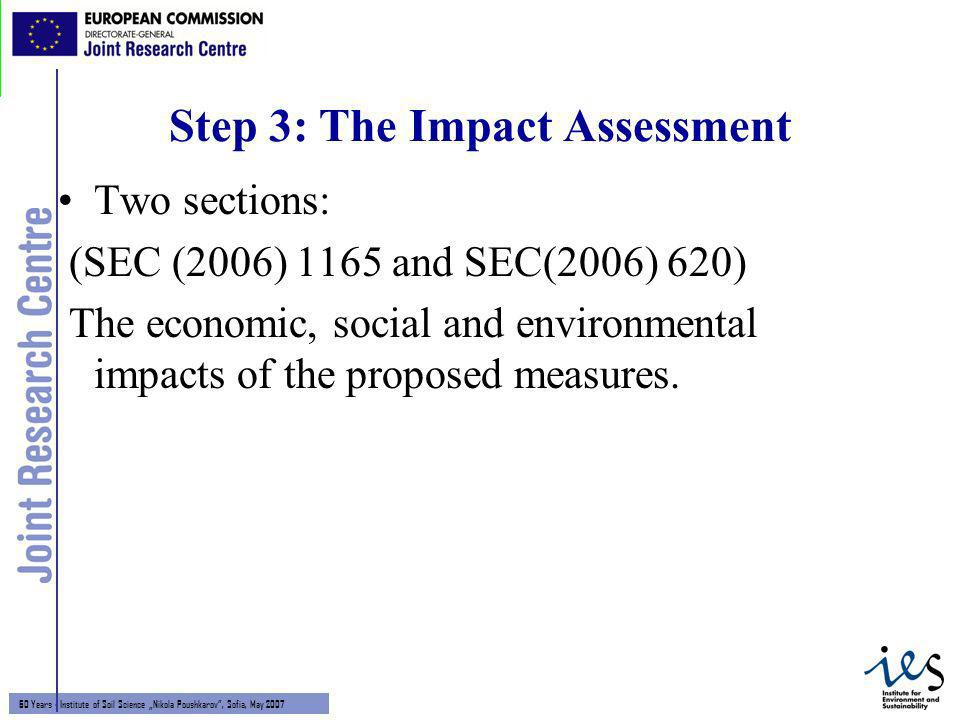 8 60 Years - Institute of Soil Science Nikola Poushkarov, Sofia, May 2007 Step 3: The Impact Assessment Two sections: (SEC (2006) 1165 and SEC(2006) 620) The economic, social and environmental impacts of the proposed measures.