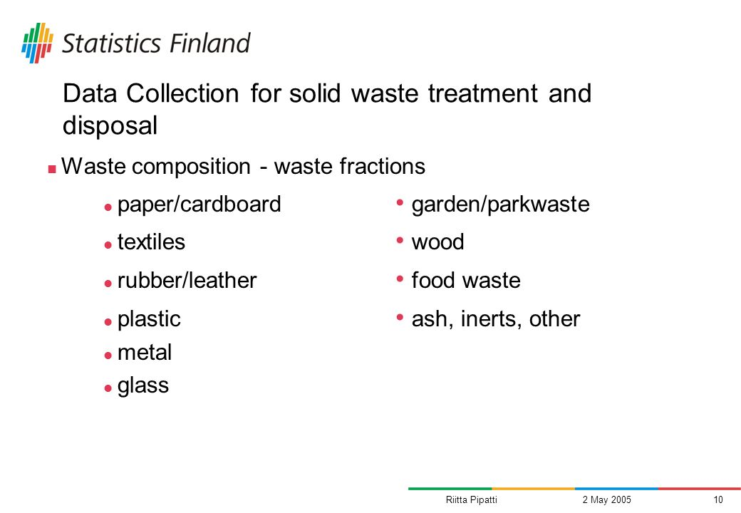 Riitta Pipatti2 May 200510 Data Collection for solid waste treatment and disposal Waste composition - waste fractions paper/cardboard garden/parkwaste textiles wood rubber/leather food waste plastic ash, inerts, other metal glass
