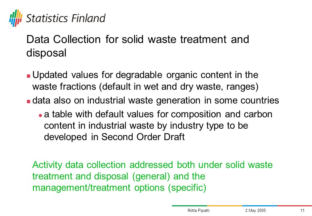 Riitta Pipatti2 May 200511 Data Collection for solid waste treatment and disposal Updated values for degradable organic content in the waste fractions (default in wet and dry waste, ranges) data also on industrial waste generation in some countries a table with default values for composition and carbon content in industrial waste by industry type to be developed in Second Order Draft Activity data collection addressed both under solid waste treatment and disposal (general) and the management/treatment options (specific)