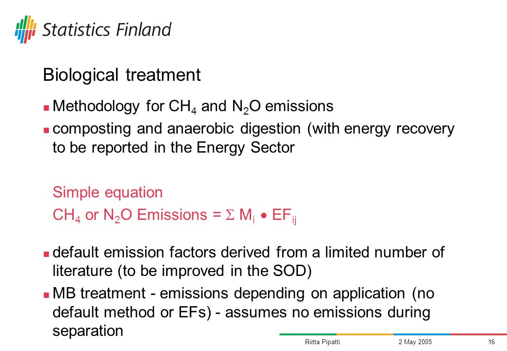 Riitta Pipatti2 May 200516 Biological treatment Methodology for CH 4 and N 2 O emissions composting and anaerobic digestion (with energy recovery to be reported in the Energy Sector Simple equation CH 4 or N 2 O Emissions = M i EF ij default emission factors derived from a limited number of literature (to be improved in the SOD) MB treatment - emissions depending on application (no default method or EFs) - assumes no emissions during separation