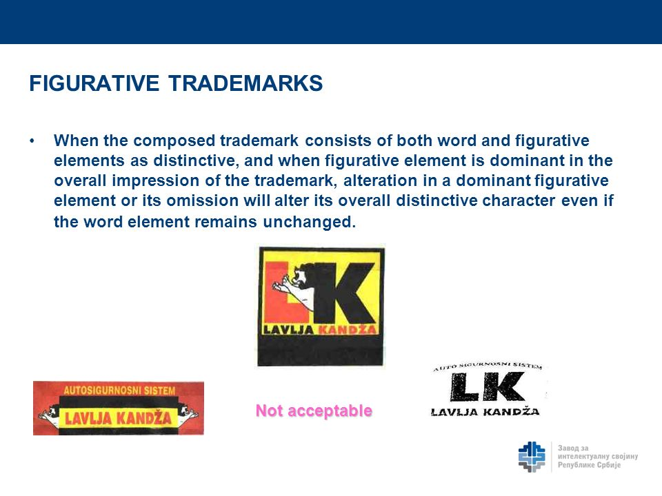 FIGURATIVE TRADEMARKS When the composed trademark consists of both word and figurative elements as distinctive, and when figurative element is dominant in the overall impression of the trademark, alteration in a dominant figurative element or its omission will alter its overall distinctive character even if the word element remains unchanged.