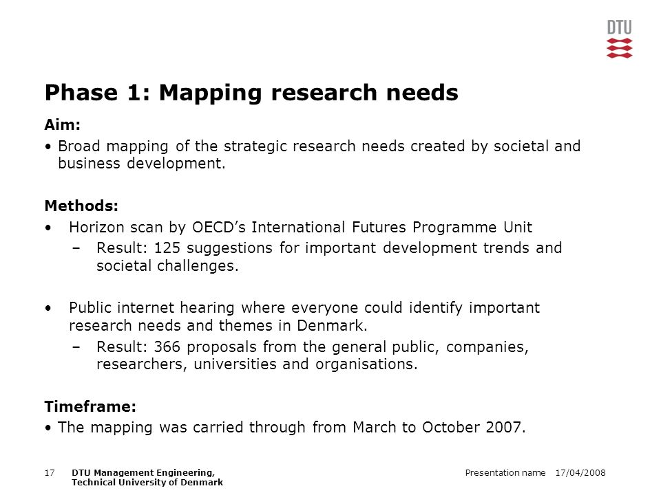17/04/2008Presentation name17DTU Management Engineering, Technical University of Denmark Phase 1: Mapping research needs Aim: Broad mapping of the strategic research needs created by societal and business development.