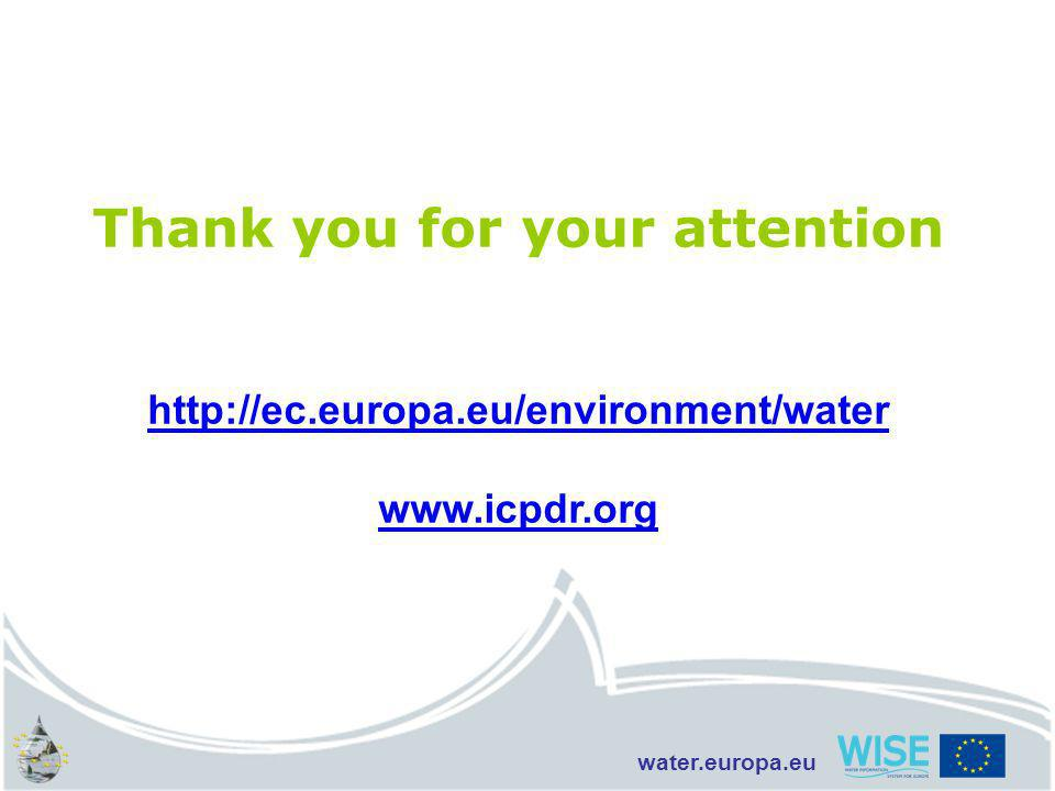 water.europa.eu Thank you for your attention http://ec.europa.eu/environment/water www.icpdr.org