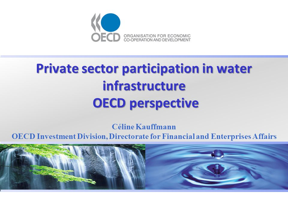 Private sector participation in water infrastructure OECD perspective Céline Kauffmann OECD Investment Division, Directorate for Financial and Enterprises Affairs