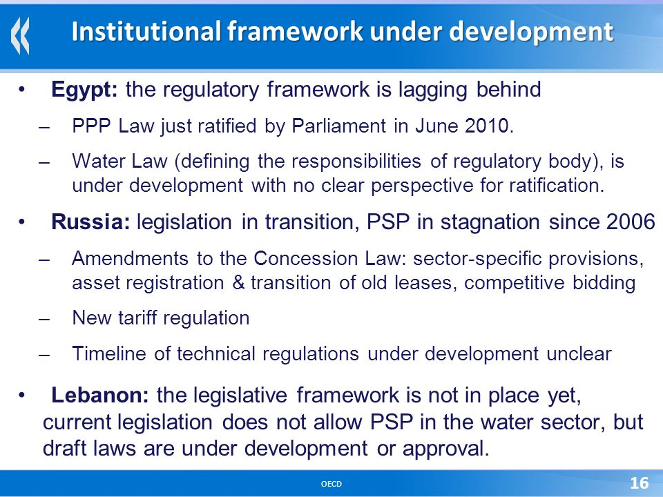 OECD 16 Institutional framework under development Egypt: the regulatory framework is lagging behind –PPP Law just ratified by Parliament in June 2010.