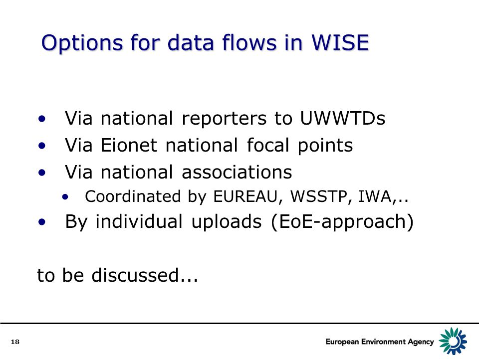18 Options for data flows in WISE Via national reporters to UWWTDs Via Eionet national focal points Via national associations Coordinated by EUREAU, WSSTP, IWA,..