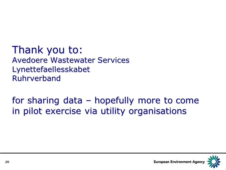 20 Thank you to: Avedoere Wastewater Services Lynettefaellesskabet Ruhrverband for sharing data – hopefully more to come in pilot exercise via utility organisations