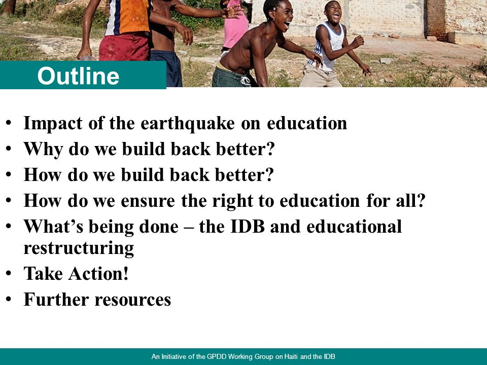 2 Impact of the earthquake on education Why do we build back better.