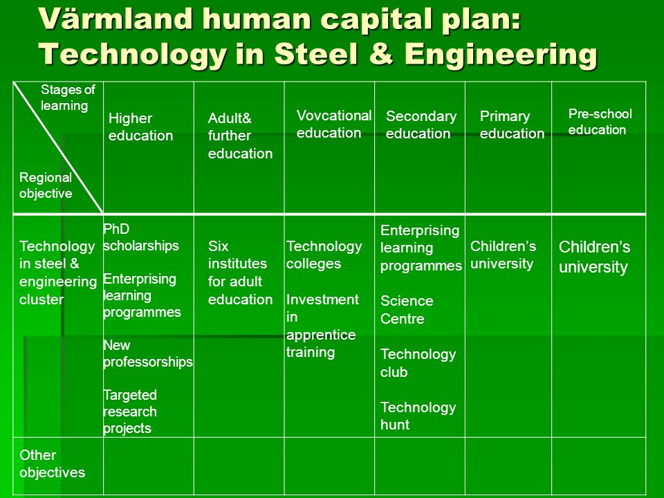 Värmland human capital plan: Technology in Steel & Engineering Pre-school education Primary education Secondary education Vovcational education Adult& further education Higher education Stages of learning Regional objective Technology in steel & engineering cluster Childrens university Enterprising learning programmes Science Centre Technology club Technology hunt PhD scholarships Enterprising learning programmes New professorships Targeted research projects Technology colleges Investment in apprentice training Six institutes for adult education Other objectives