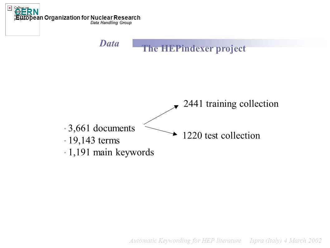 Automatic Keywording for HEP literature Ispra (Italy) 4 March 2002 CERN European Organization for Nuclear Research Data Handling Group The HEPindexer project 1220 test collection 2441 training collection Data 3,661 documents 19,143 terms 1,191 main keywords