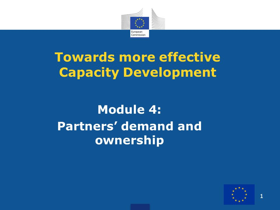 1 Module 4: Partners demand and ownership Towards more effective Capacity Development