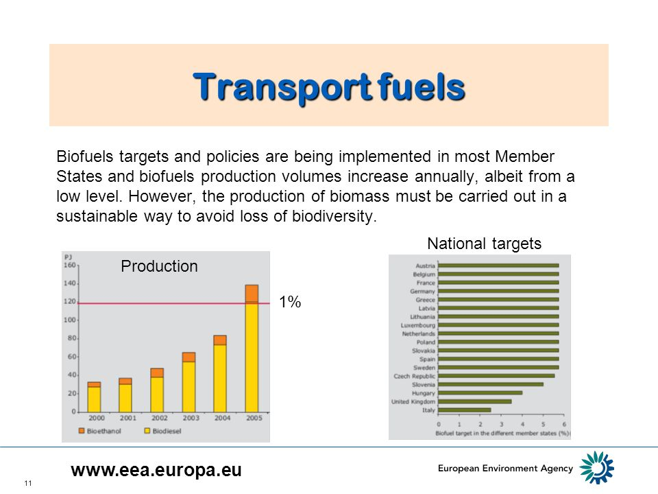 11 Transport fuels Biofuels targets and policies are being implemented in most Member States and biofuels production volumes increase annually, albeit from a low level.