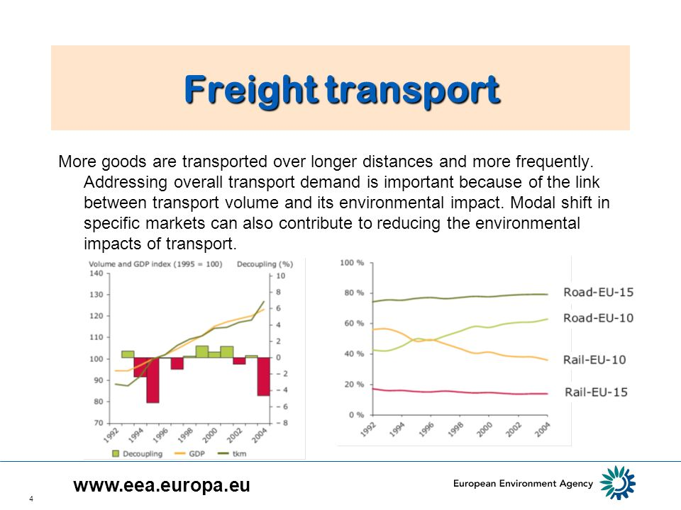 4 Freight transport More goods are transported over longer distances and more frequently.