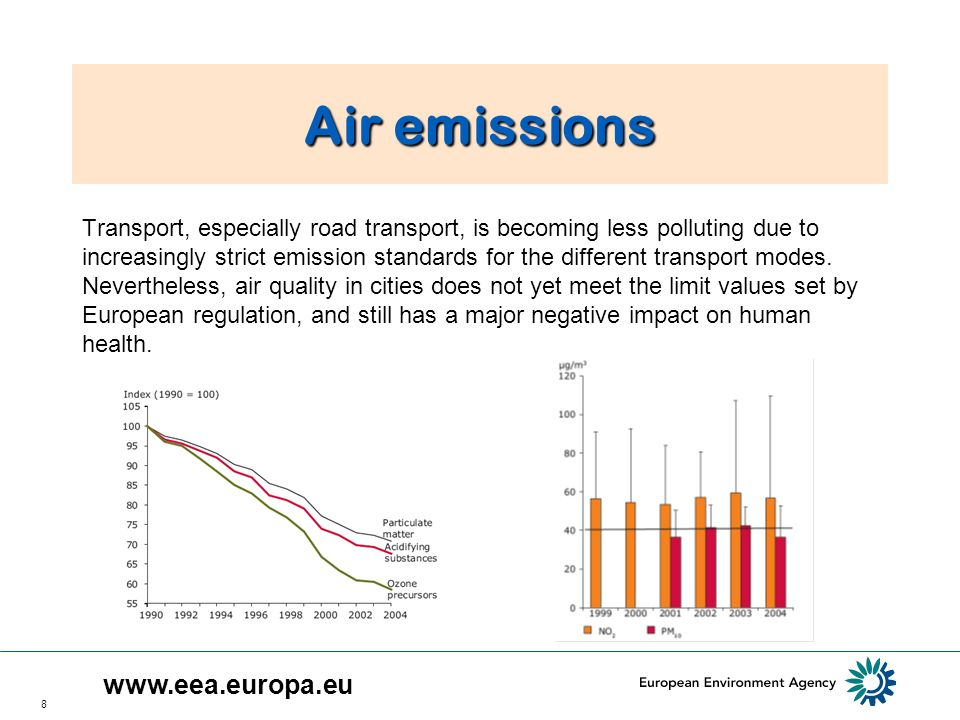 8 Air emissions Transport, especially road transport, is becoming less polluting due to increasingly strict emission standards for the different transport modes.