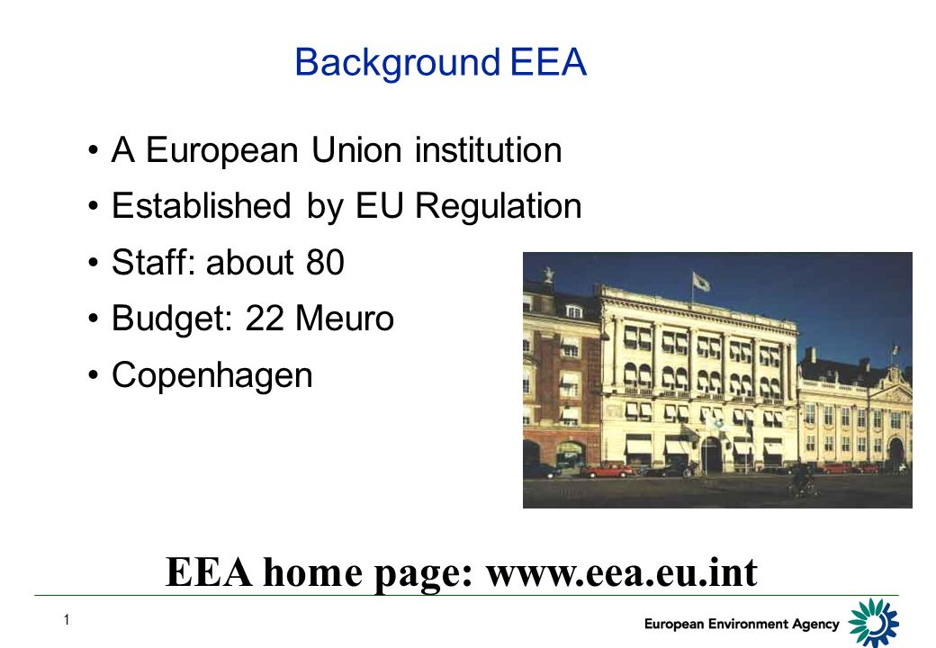 1 Background EEA A European Union institution Established by EU Regulation Staff: about 80 Budget: 22 Meuro Copenhagen EEA home page: