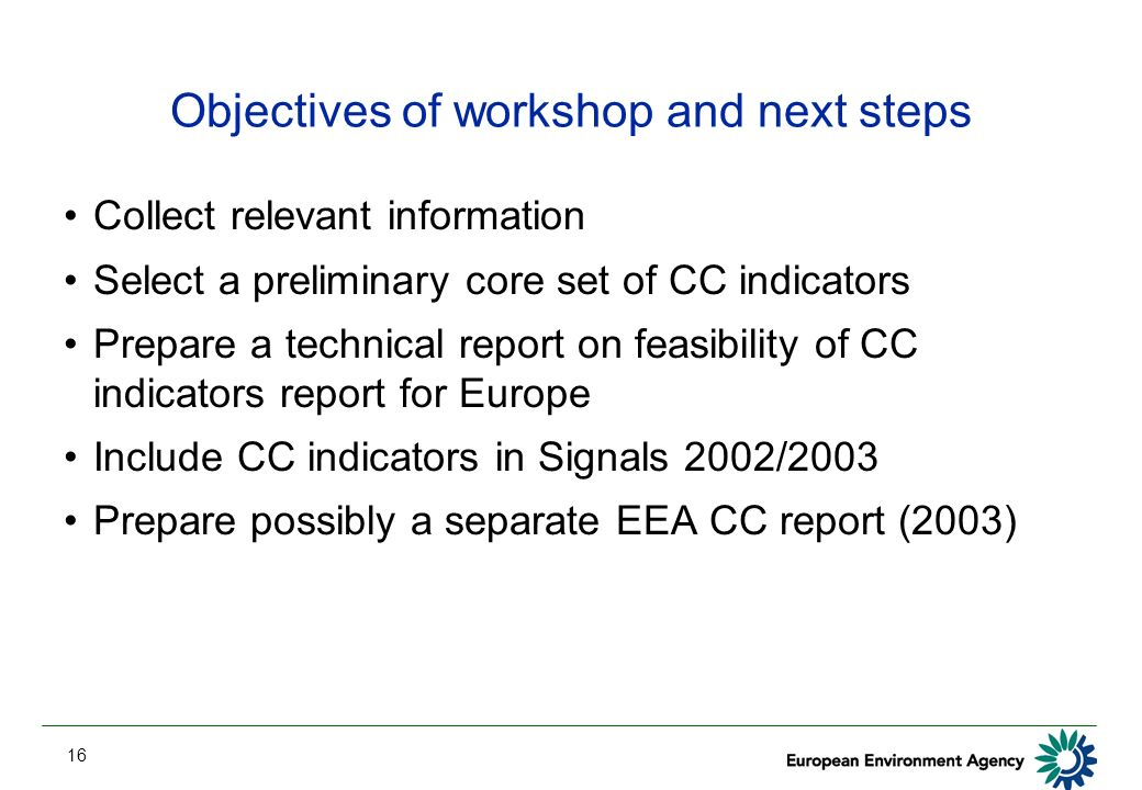 16 Objectives of workshop and next steps Collect relevant information Select a preliminary core set of CC indicators Prepare a technical report on feasibility of CC indicators report for Europe Include CC indicators in Signals 2002/2003 Prepare possibly a separate EEA CC report (2003)