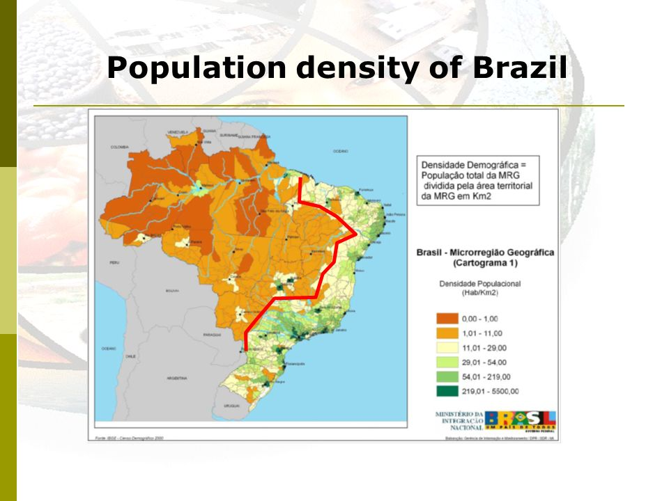 Population density of Brazil