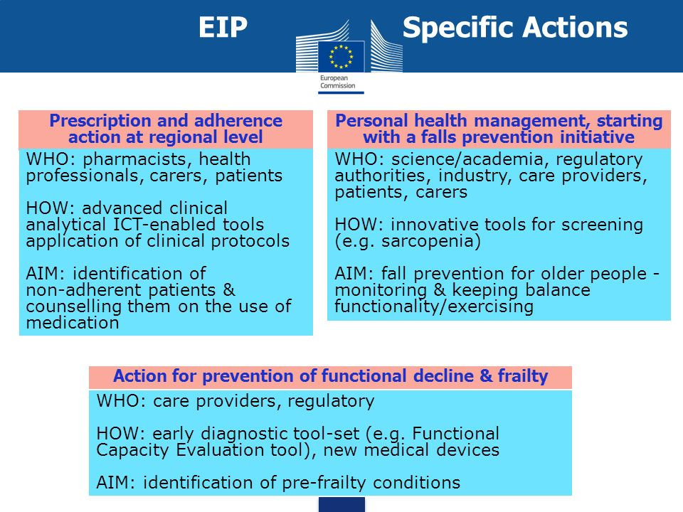 Prescription and adherence action at regional level WHO: pharmacists, health professionals, carers, patients HOW: advanced clinical analytical ICT enabled tools application of clinical protocols AIM: identification of non adherent patients & counselling them on the use of medication Personal health management, starting with a falls prevention initiative WHO: science/academia, regulatory authorities, industry, care providers, patients, carers HOW: innovative tools for screening (e.g.