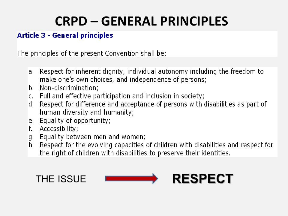 CRPD – GENERAL PRINCIPLES THE ISSUE RESPECT