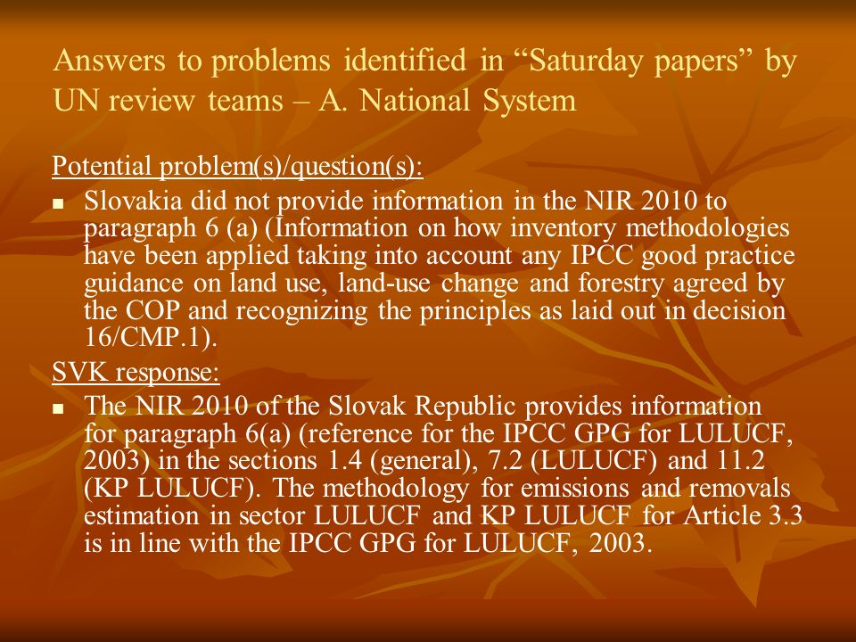 Answers to problems identified in Saturday papers by UN review teams – A.
