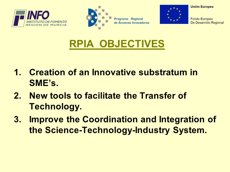 RPIA OBJECTIVES 1.Creation of an Innovative substratum in SMEs.