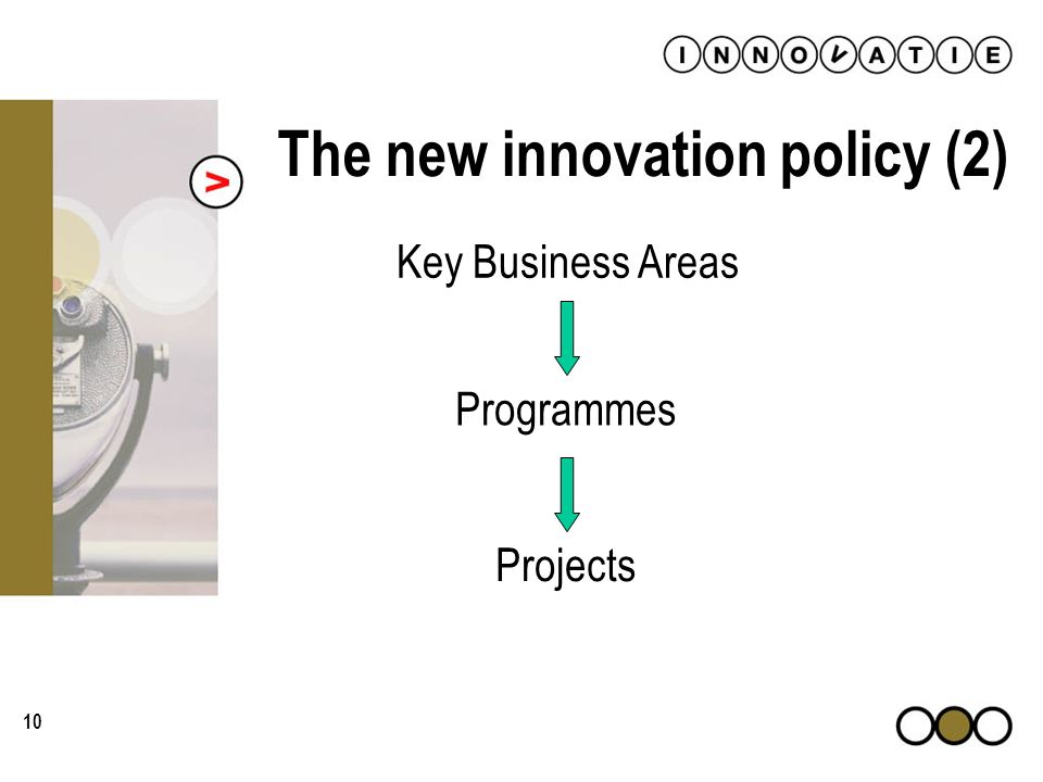 10 The new innovation policy (2) Key Business Areas Programmes Projects