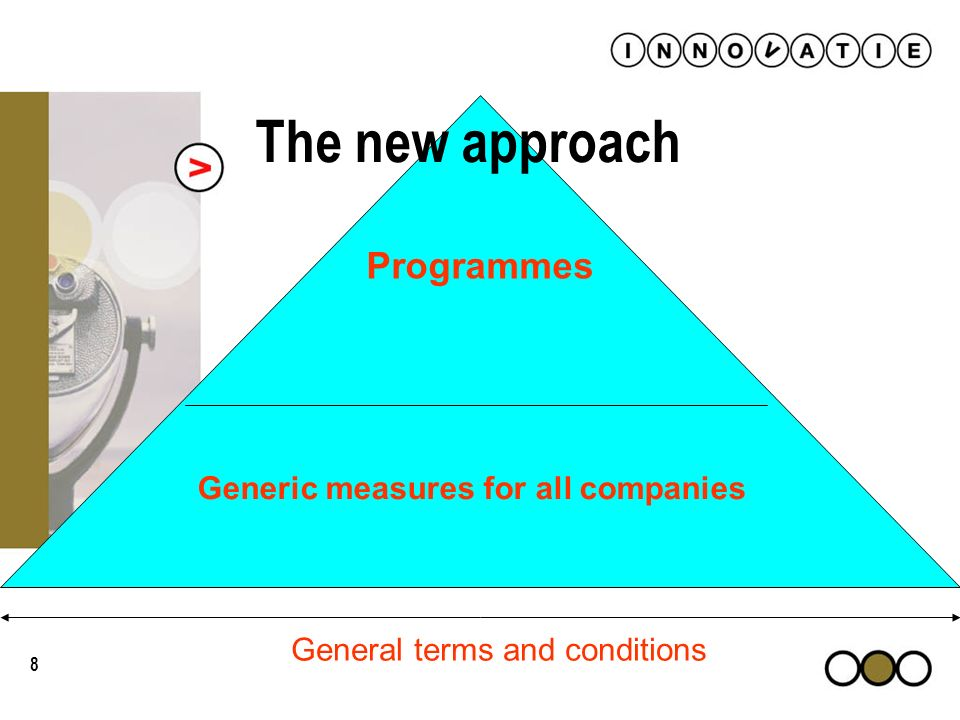 8 Generic measures for all companies Programmes General terms and conditions The new approach