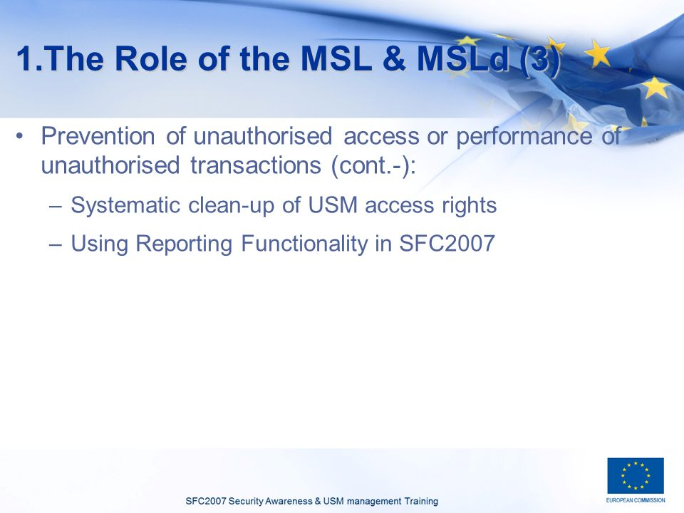 1.The Role of the MSL & MSLd (3) Prevention of unauthorised access or performance of unauthorised transactions (cont.-): –Systematic clean-up of USM access rights –Using Reporting Functionality in SFC2007