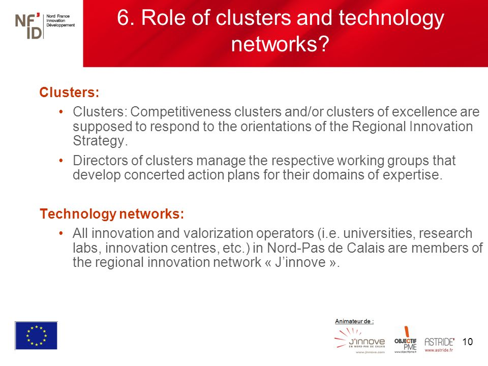 10 6. Role of clusters and technology networks.
