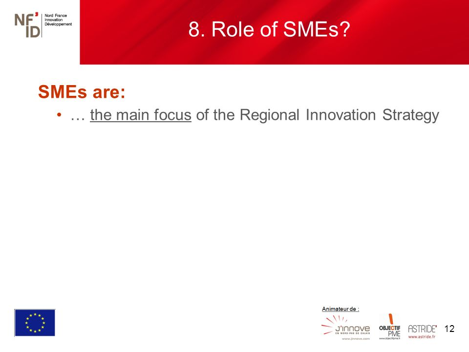 12 SMEs are: … the main focus of the Regional Innovation Strategy 8. Role of SMEs