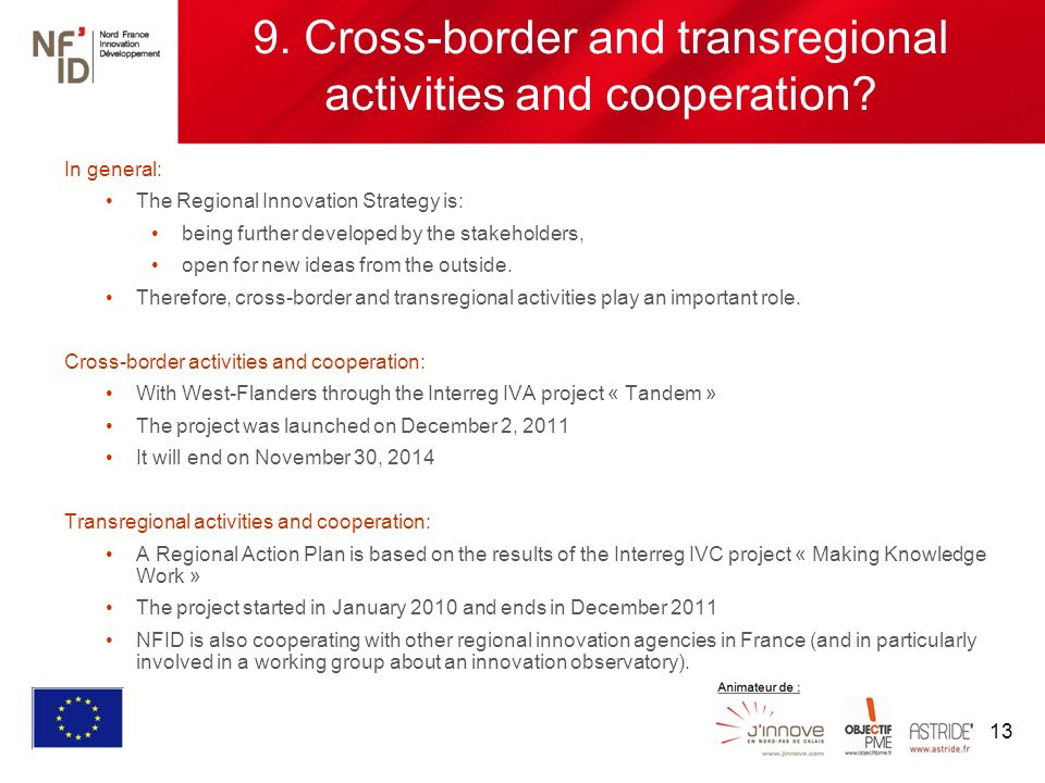 13 9. Cross-border and transregional activities and cooperation.