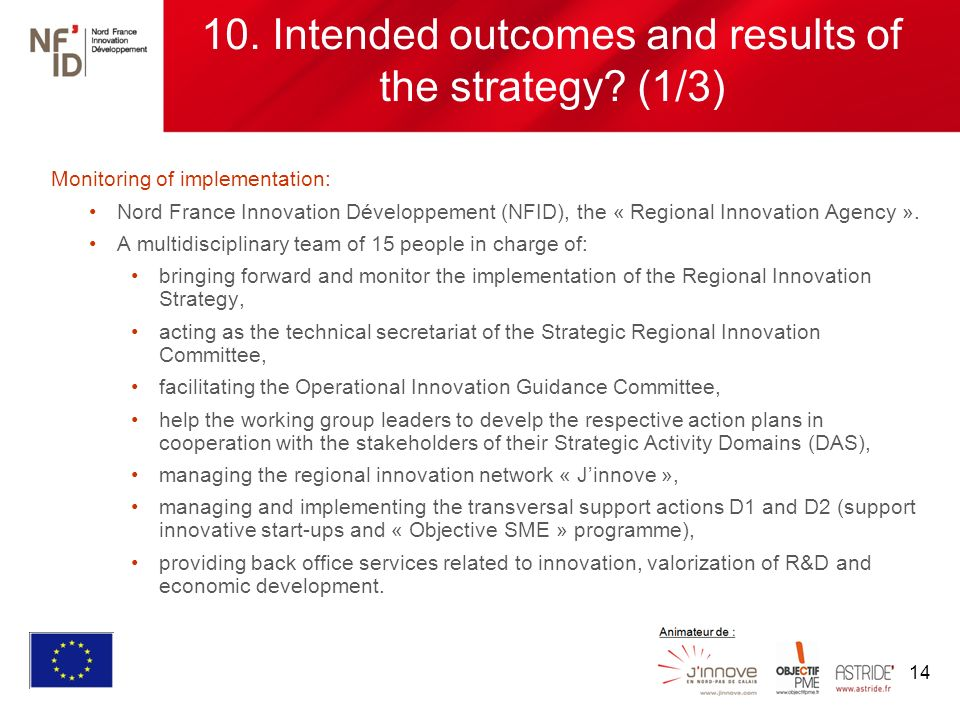 14 10. Intended outcomes and results of the strategy.