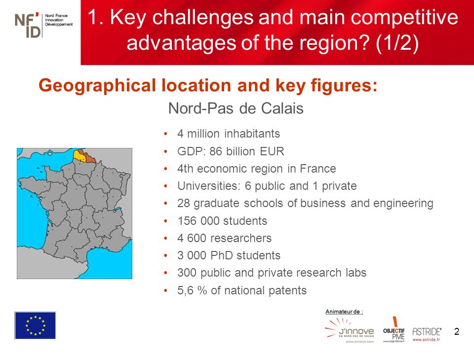 2 Geographical location and key figures: Nord-Pas de Calais 1.