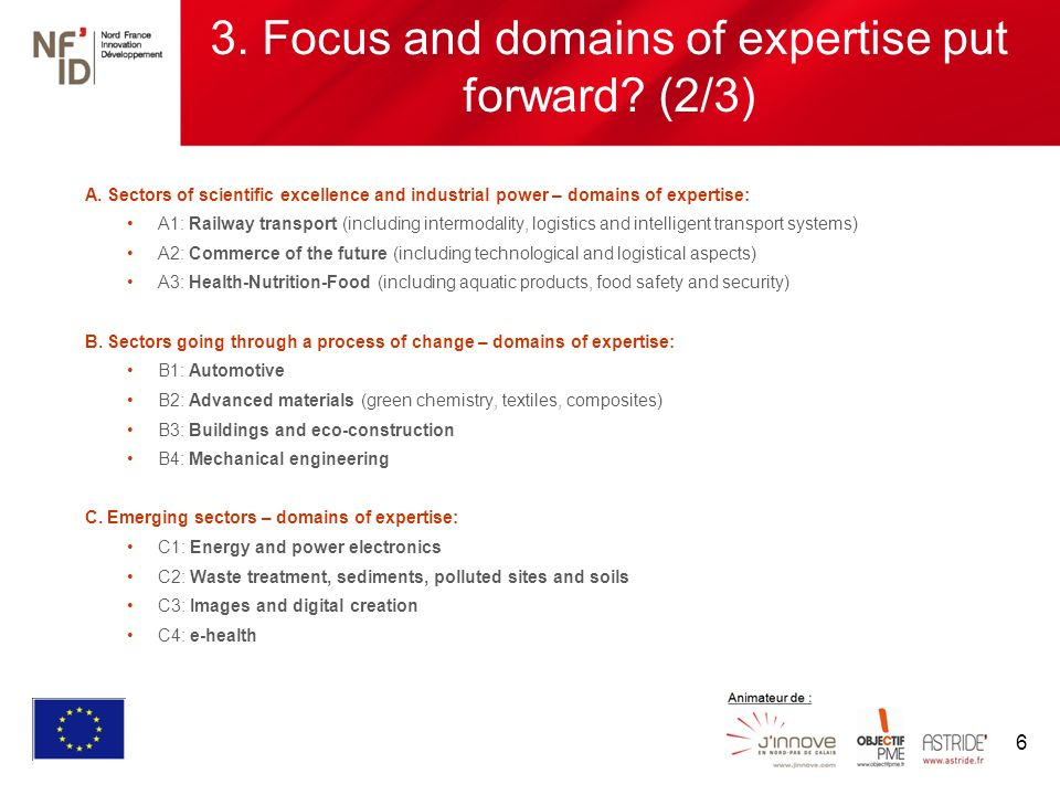 6 3. Focus and domains of expertise put forward. (2/3) A.