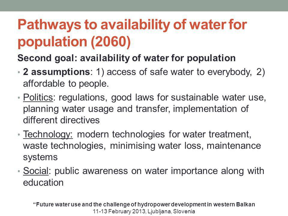 Pathways to availability of water for population (2060) Second goal: availability of water for population 2 assumptions: 1) access of safe water to everybody, 2) affordable to people.