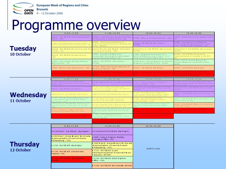 Programme overview Thursday 12 October Tuesday 10 October Wednesday 11 October