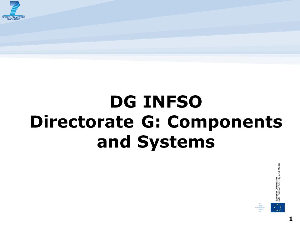 1 DG INFSO Directorate G: Components and Systems