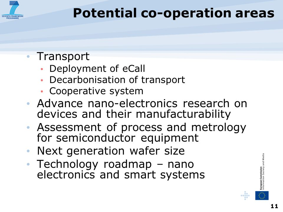 11 Potential co-operation areas Transport Deployment of eCall Decarbonisation of transport Cooperative system Advance nano-electronics research on devices and their manufacturability Assessment of process and metrology for semiconductor equipment Next generation wafer size Technology roadmap – nano electronics and smart systems