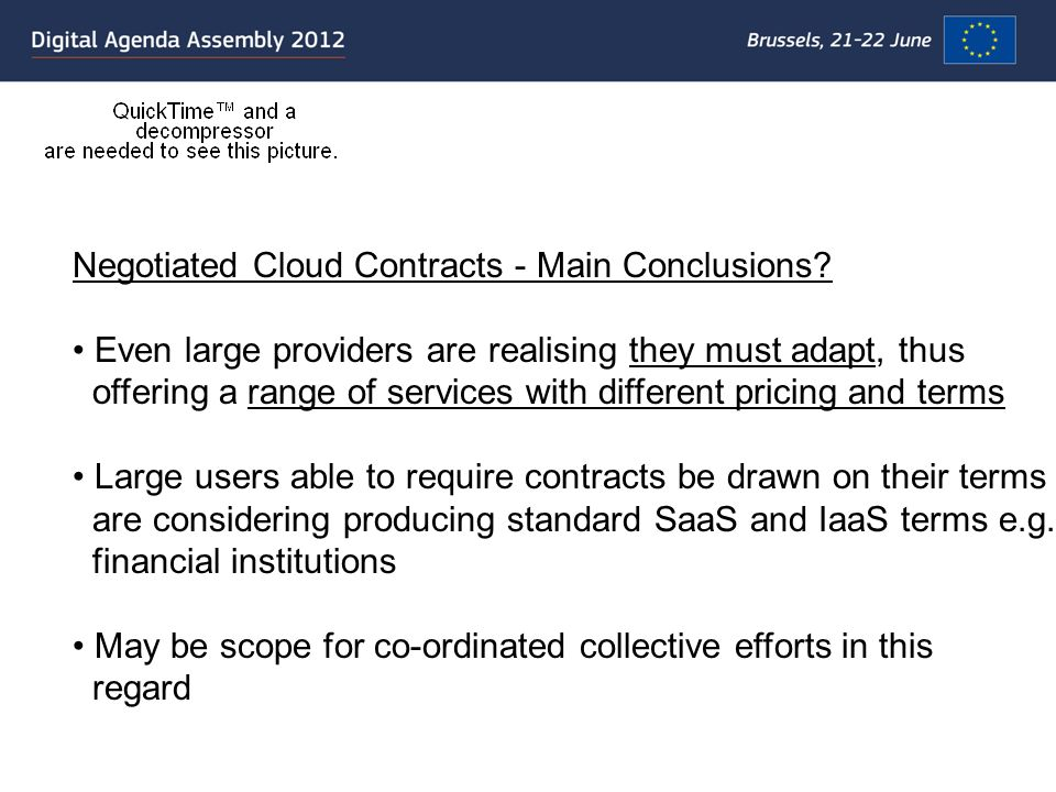 Negotiated Cloud Contracts - Main Conclusions.