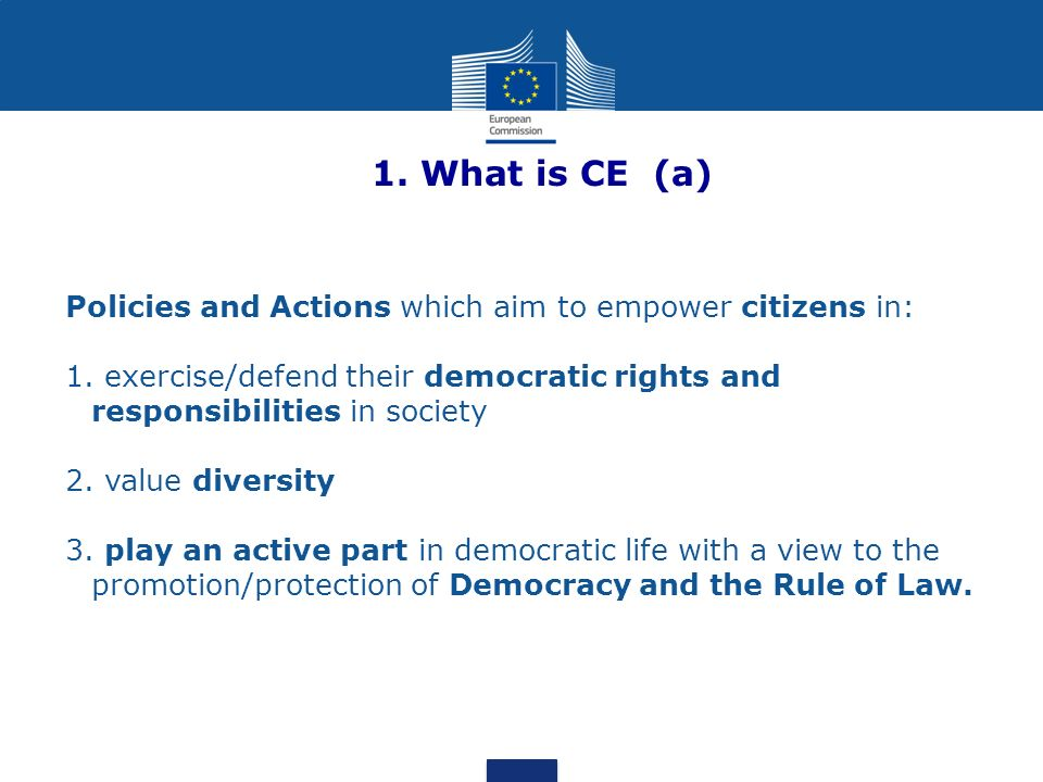 1. What is CE (a) Policies and Actions which aim to empower citizens in: 1.