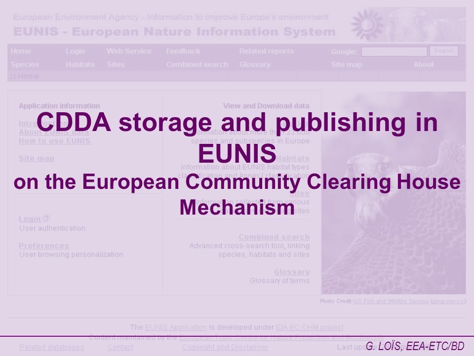 CDDA storage and publishing in EUNIS on the European Community