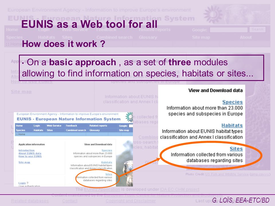 G. LOÏS, EEA-ETC/BD EUNIS as a Web tool for all How does it work .