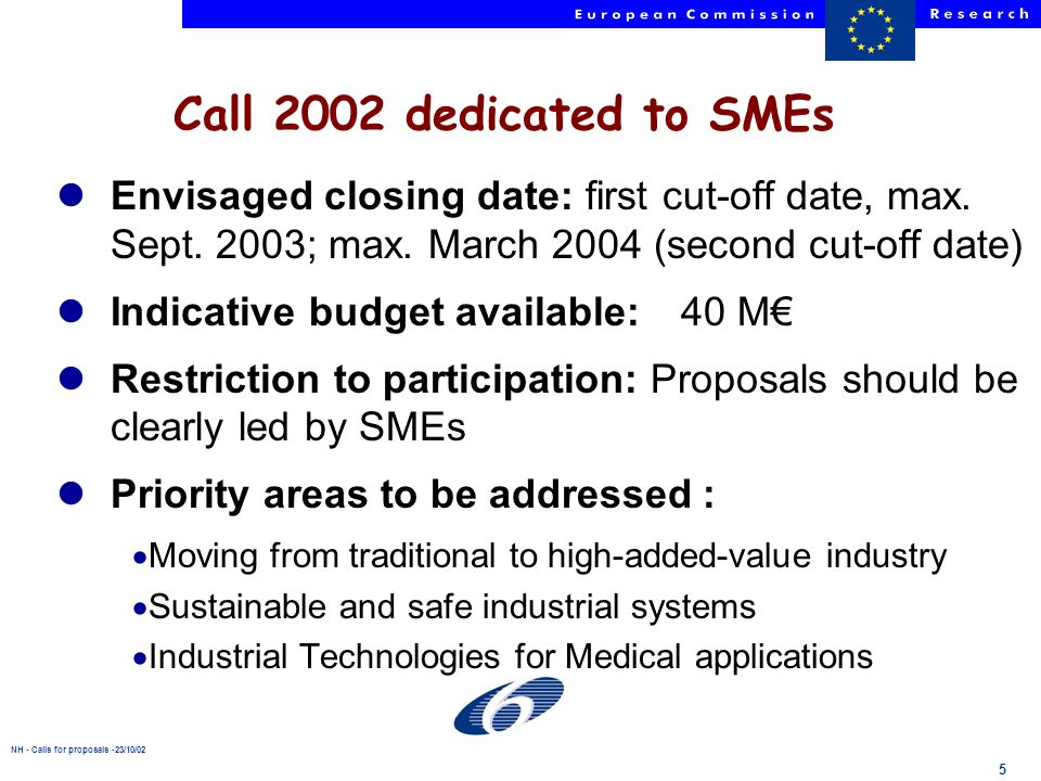 NH - Calls for proposals -23/10/02 5 lEnvisaged closing date: first cut-off date, max.