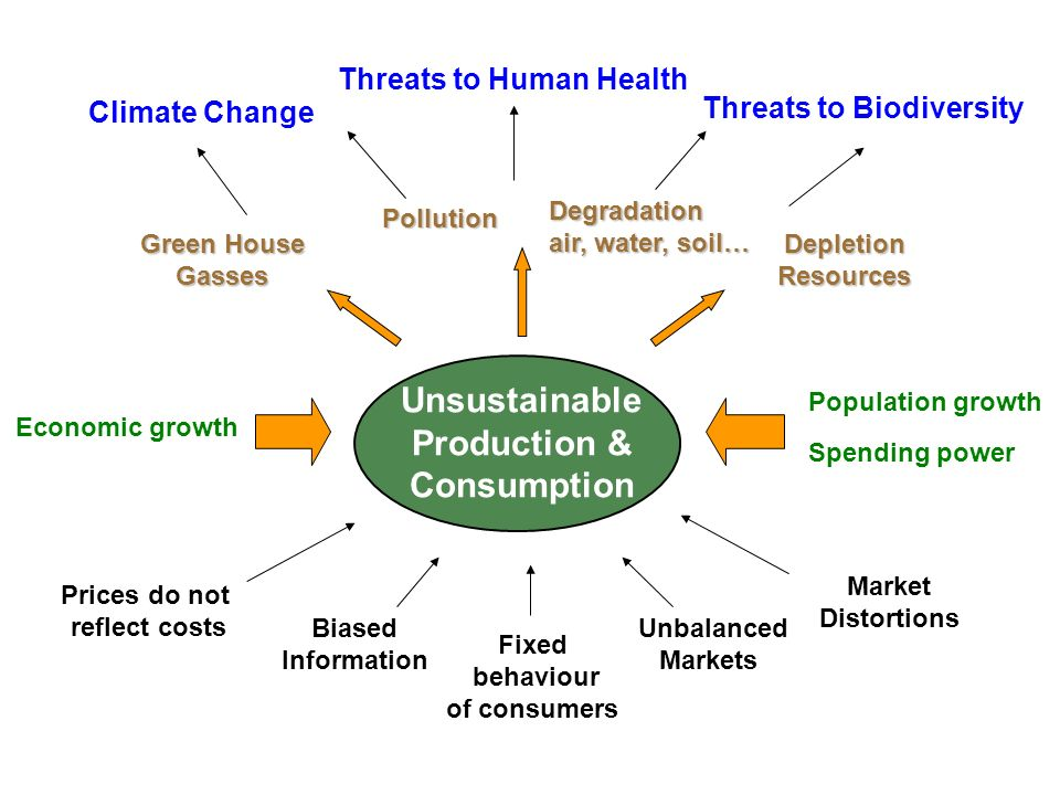 Prices do not reflect costs Unsustainable Production & Consumption Biased Information Unbalanced Markets Market Distortions Green House Gasses Pollution DepletionResources Climate Change Threats to Human Health Threats to Biodiversity Degradation air, water, soil… Population growth Spending power Economic growth Fixed behaviour of consumers