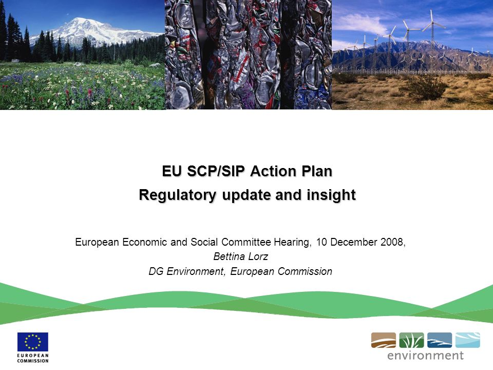 EU SCP/SIP Action Plan Regulatory update and insight European Economic and Social Committee Hearing, 10 December 2008, Bettina Lorz DG Environment, European Commission